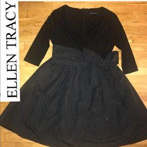 Ellen Tracy PARTY DRESS Jersey & Taffeta w/ Bow 14